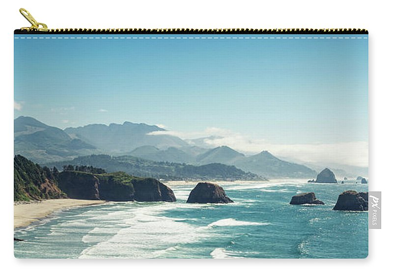 Scenics Carry-all Pouch featuring the photograph Panoramic Shot Of Cannon Beach, Oregon by Kativ