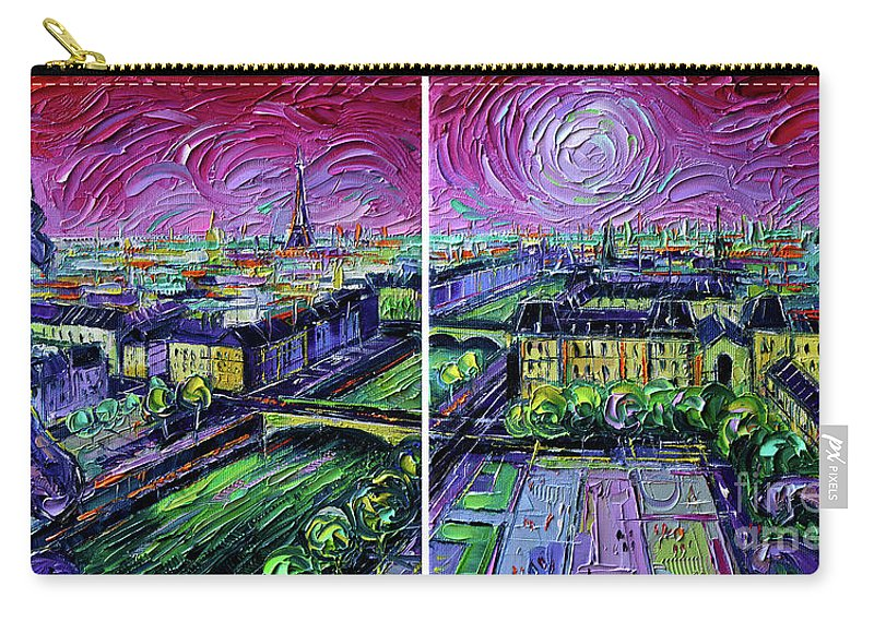 Paris Gargoyle Carry-all Pouch featuring the painting Paris View With Gargoyles - Textural Impressionist Diptych Oil Painting Mona Edulesco  by Mona Edulesco