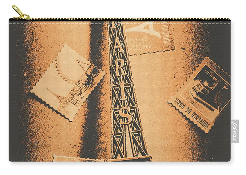 Postcard Carry-all Pouch featuring the photograph Parisian Post Facade by Jorgo Photography - Wall Art Gallery