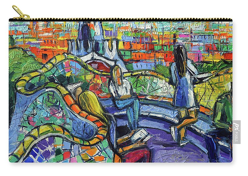 Park Guell Carry-all Pouch featuring the painting Park Guell Enchanted Visitors - Impasto Palette Knife Stylized Cityscape by Mona Edulesco