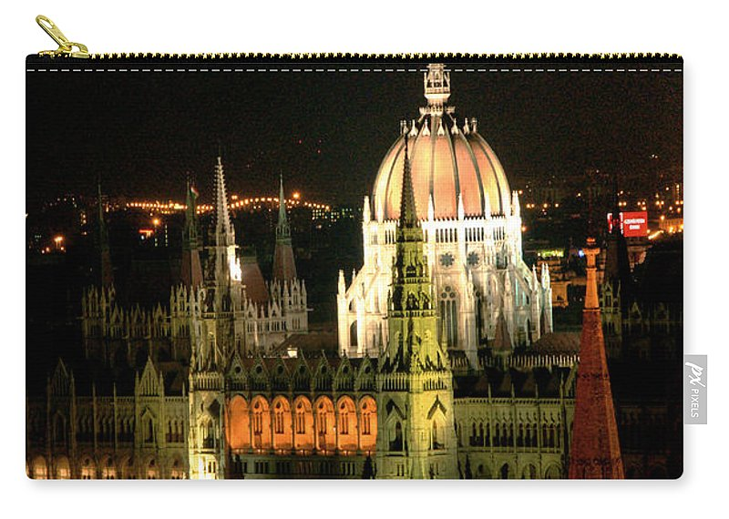 Hungarian Parliament Building Carry-all Pouch featuring the photograph Parliament Building Lit Up At Night by Roberto Herrero Garcia