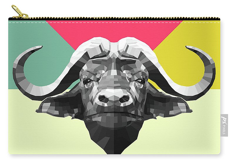 Buffalo Carry-all Pouch featuring the digital art Party Buffalo by Naxart Studio