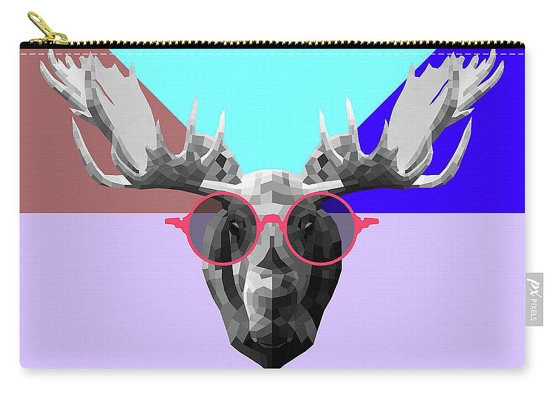 Moose Carry-all Pouch featuring the digital art Party Moose In Glasses by Naxart Studio