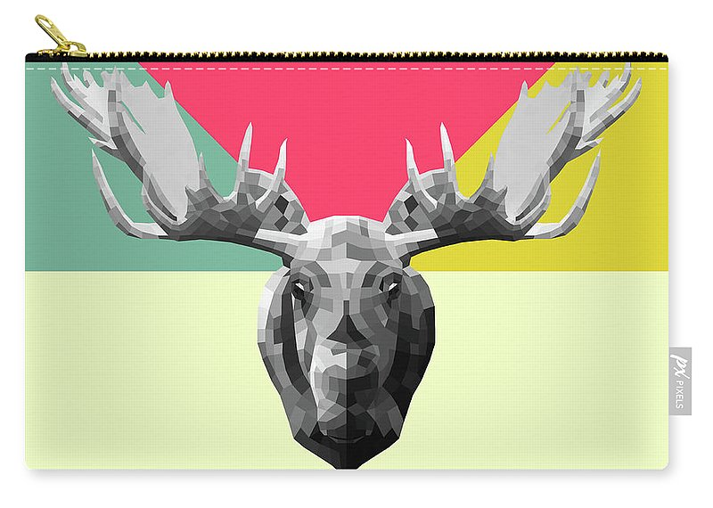 Moose Carry-all Pouch featuring the digital art Party Moose by Naxart Studio