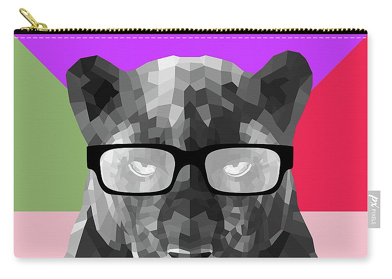 Panther Carry-all Pouch featuring the digital art Party Panther In Glasses by Naxart Studio