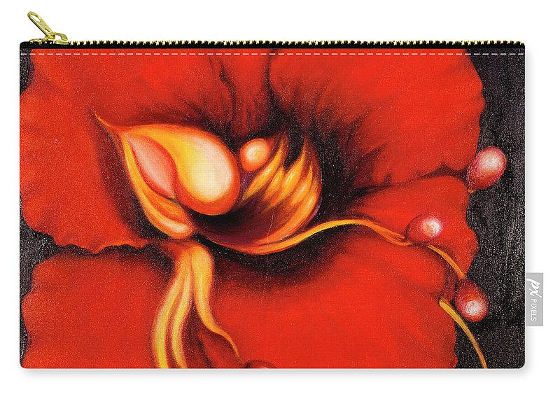 Red Surreal Bloom Artwork Carry-all Pouch featuring the painting Passion Flower by Jordana Sands