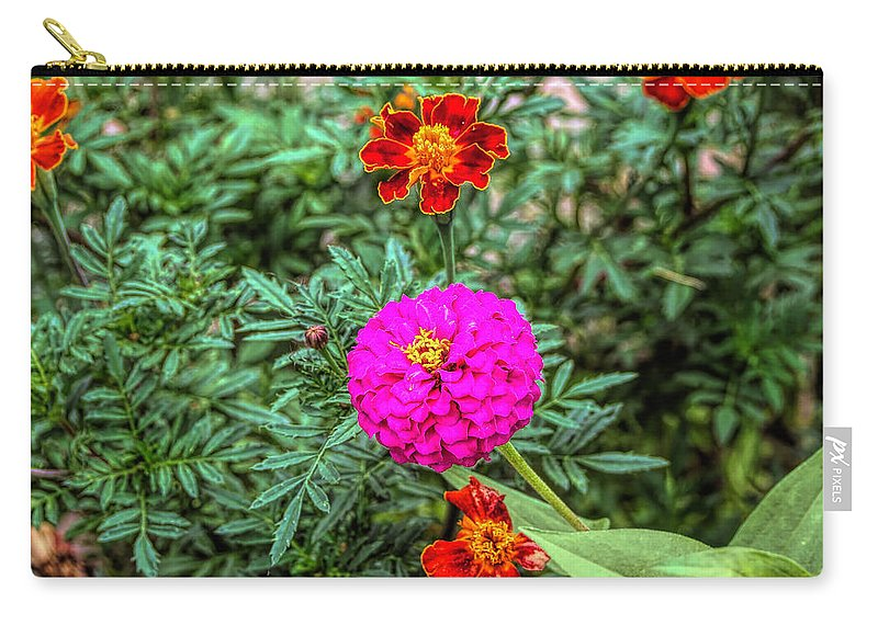 Red Carry-all Pouch featuring the photograph Pastel Wild Flowers by John Straton