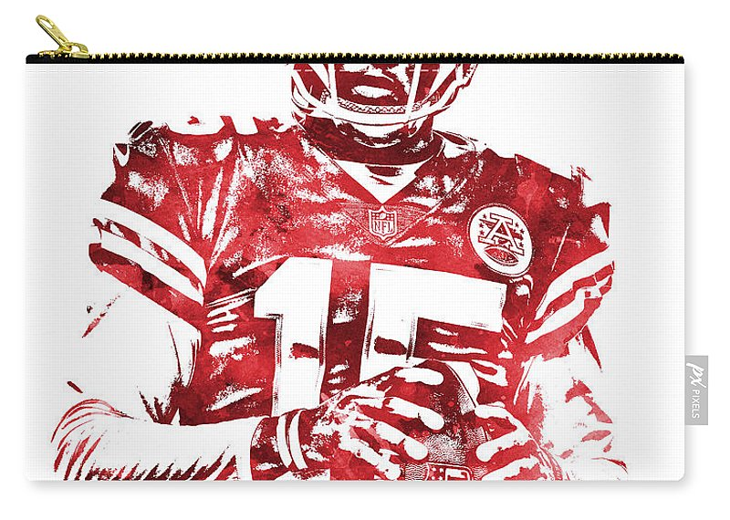 Patrick Mahomes Carry-all Pouch featuring the mixed media Patrick Mahomes Kansas City Chiefs Water Color Pixel Art 10 by Joe Hamilton