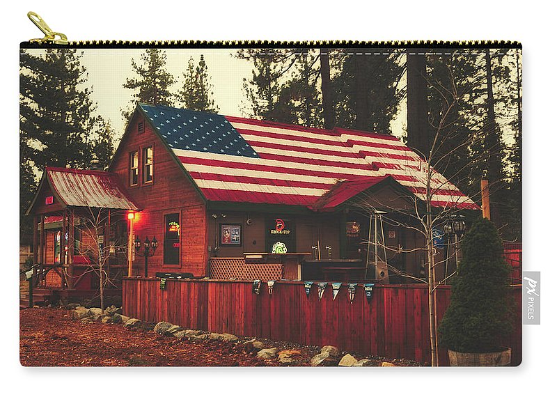 America Carry-all Pouch featuring the photograph Patriotic Bar And Grill by Mountain Dreams