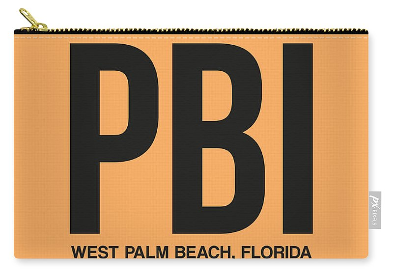 Vacation Carry-all Pouch featuring the digital art Pbi West Palm Beach Luggage Tag I by Naxart Studio