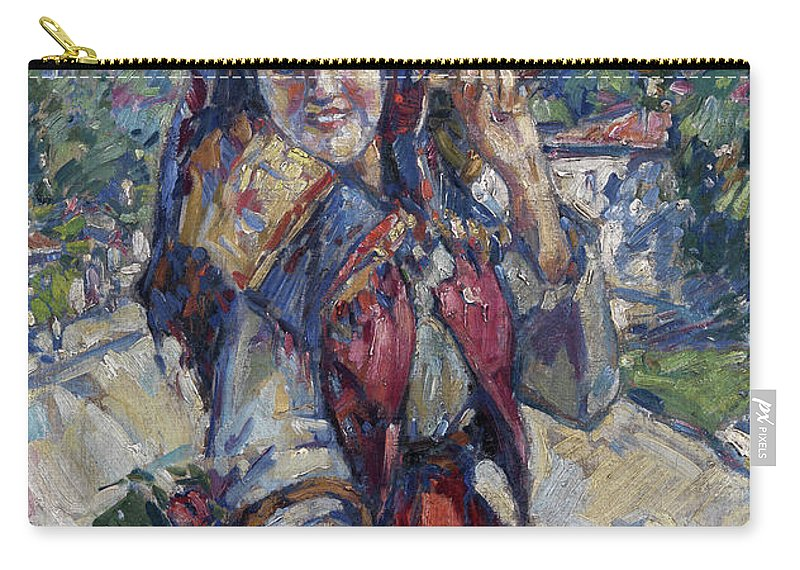 Konstantin Korovin Carry-all Pouch featuring the painting Peasant Girl With Fruit And Flowers by Konstantin Korovin