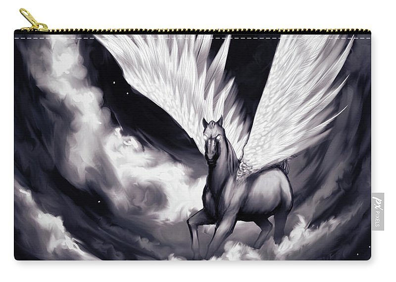 Pegasus Carry-all Pouch featuring the painting Pegasus by Sami Matilainen