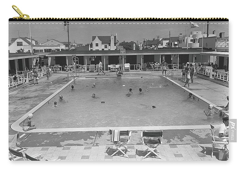 Rectangle Carry-all Pouch featuring the photograph People Swimming In Pool, B&w, Elevated by George Marks