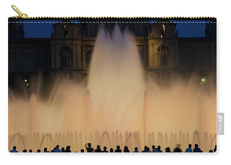 Palace Of Montjuic Carry-all Pouch featuring the photograph People Watching Fountain, Palace Of by Peter Adams