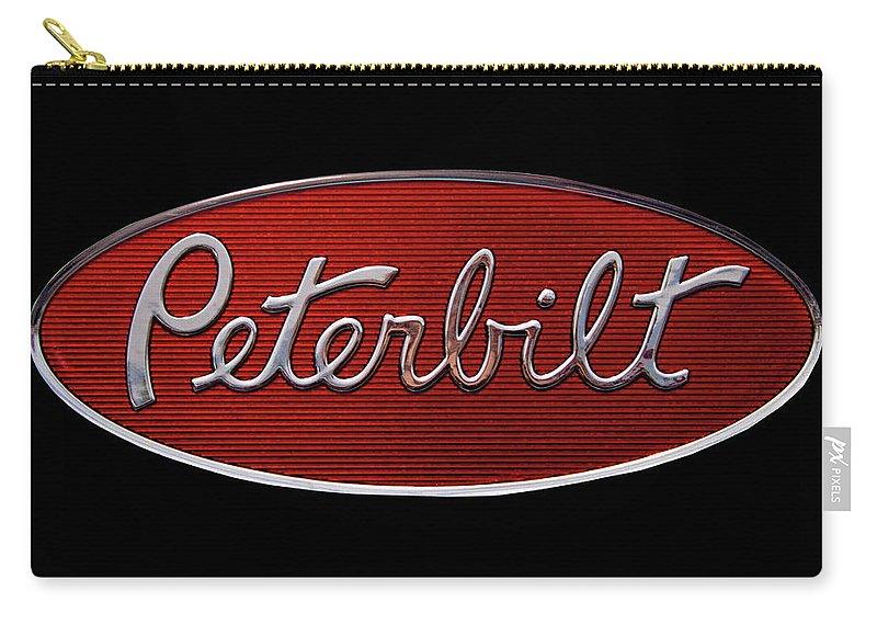 Peterbilt Carry-all Pouch featuring the photograph Peterbilt Emblem Black by Nick Gray