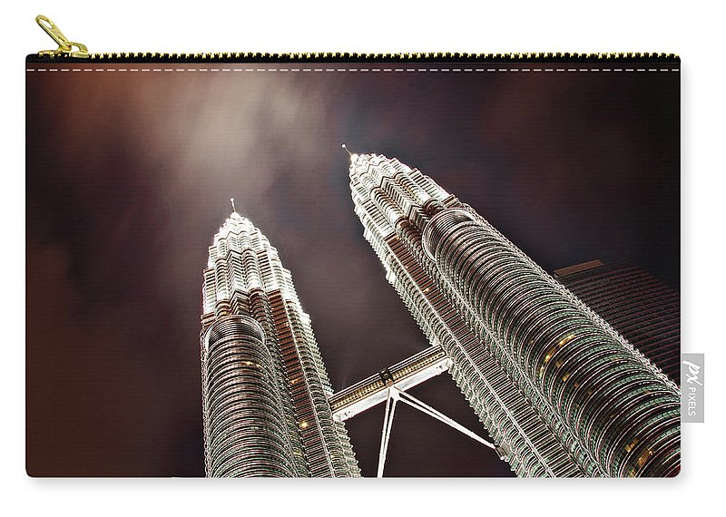 Directly Below Carry-all Pouch featuring the photograph Petronas Towers by Smerindo schultzpax
