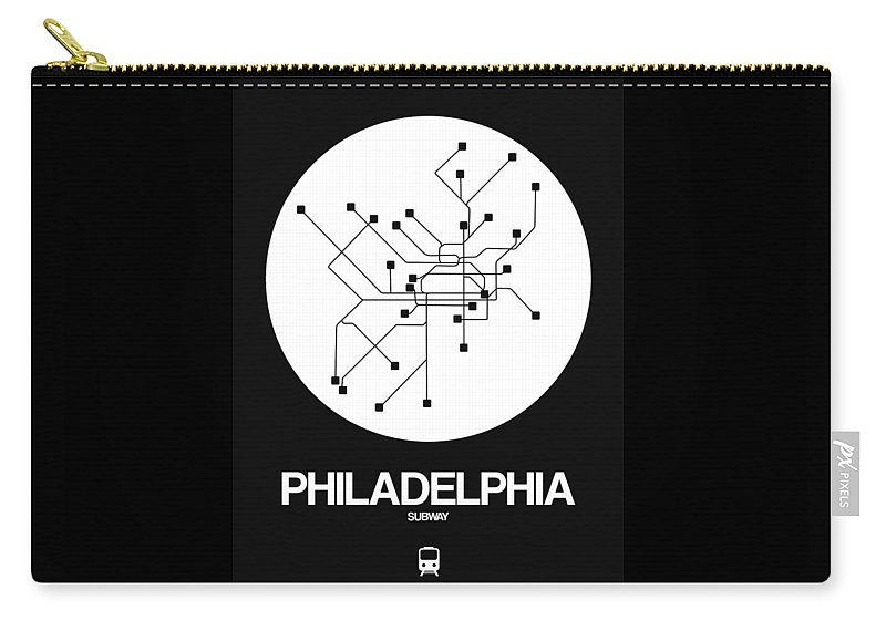 Philadelphia Carry-all Pouch featuring the digital art Philadelphia White Subway Map by Naxart Studio