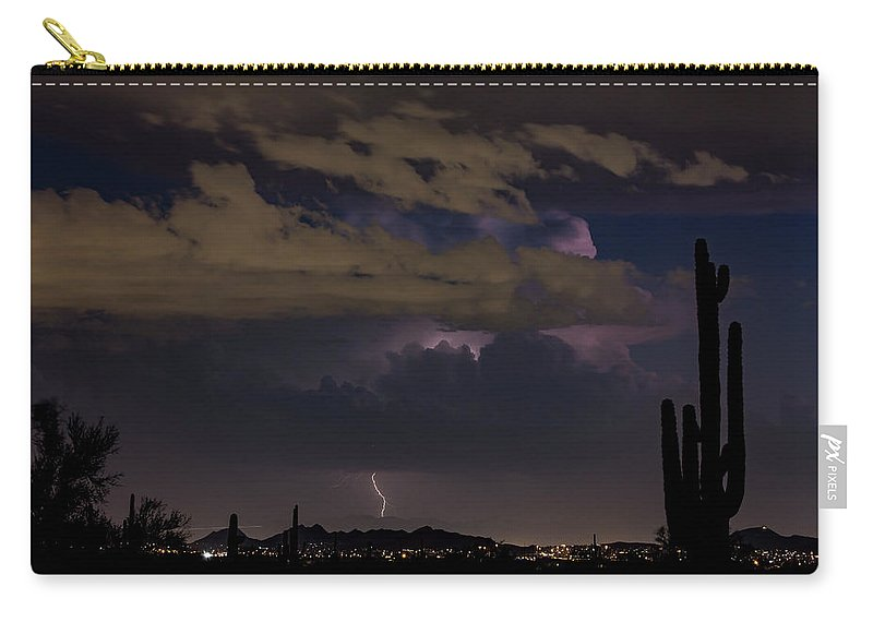 Phoenix Carry-all Pouch featuring the photograph Phoenix Long Shot by Cathy Franklin