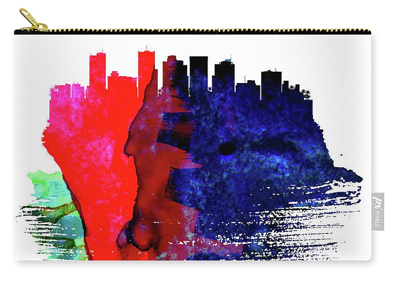 Phoenix Carry-all Pouch featuring the mixed media Phoenix Skyline Brush Stroke Watercolor  by Naxart Studio