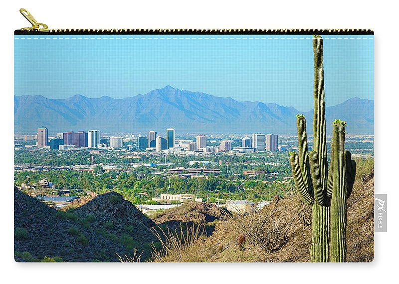 Saguaro Cactus Carry-all Pouch featuring the photograph Phoenix Skyline Framed By Saguaro by Dszc