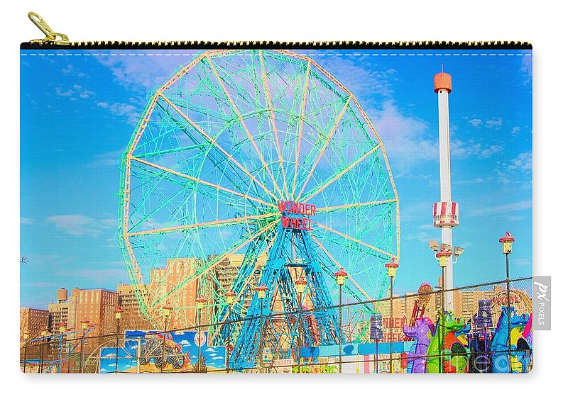 Ny Carry-all Pouch featuring the photograph Photo Art Wonder Wheel Coney Island Ny by Chuck Kuhn