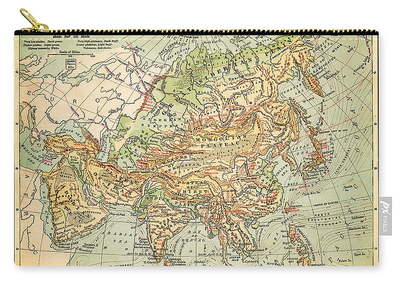 Burnt Carry-all Pouch featuring the digital art Physical Map Of Asia by Thepalmer