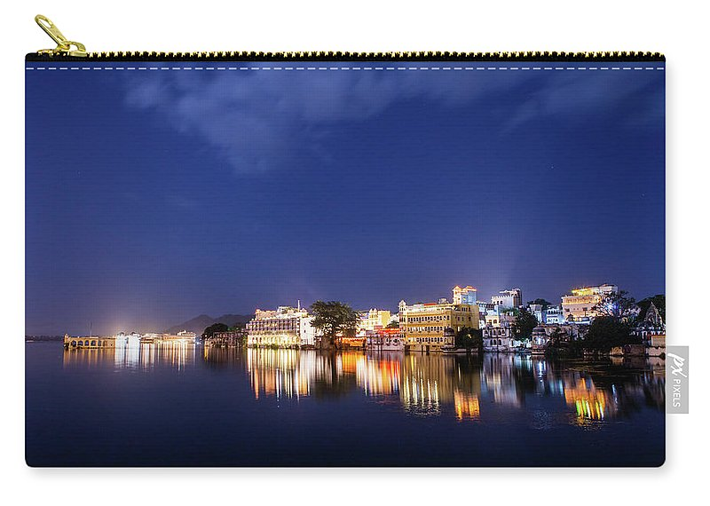 Tranquility Carry-all Pouch featuring the photograph Pichola Lake Night View by Greenlin