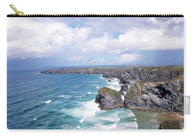 Water's Edge Carry-all Pouch featuring the photograph Picturesque Cornwall - Bedruthan by Chrisat
