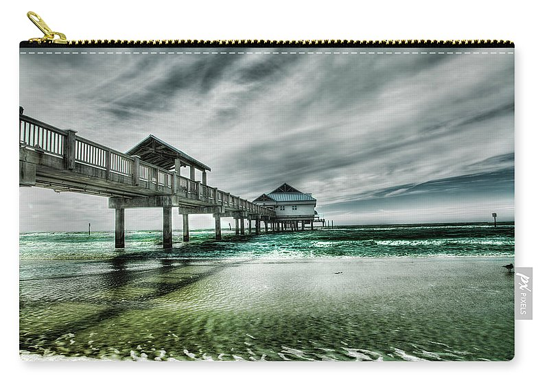 Water's Edge Carry-all Pouch featuring the photograph Pier by Chumbley Photography
