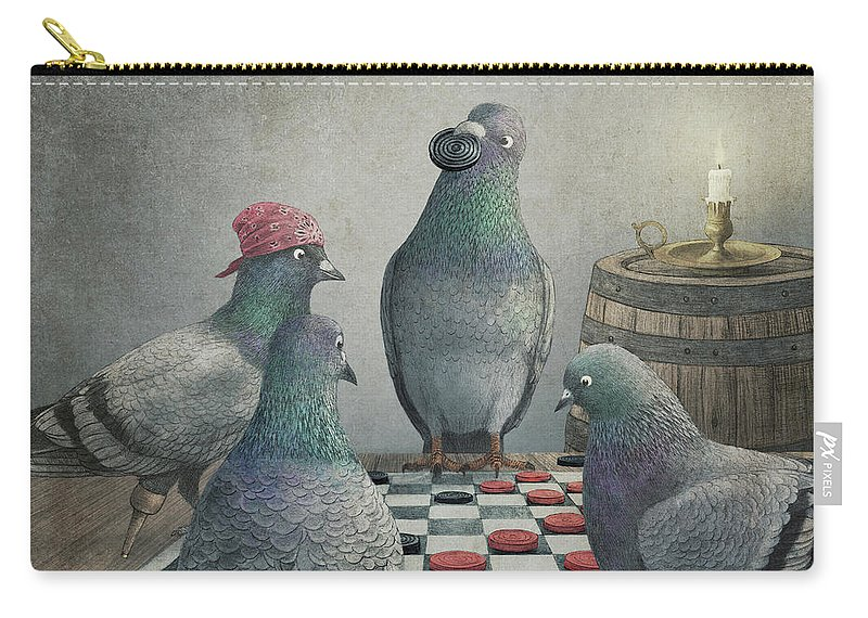 Pigeons Carry-all Pouch featuring the drawing Pigeons Playing Checkers by Eric Fan