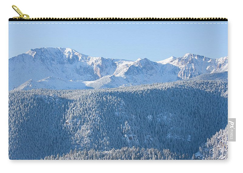 Extreme Terrain Carry-all Pouch featuring the photograph Pikes Peak In Fresh Snow by Swkrullimaging