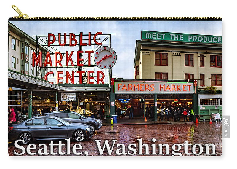 Pike's Place Carry-all Pouch featuring the photograph Pikes Place Public Market Center Seattle Washington by G Matthew Laughton