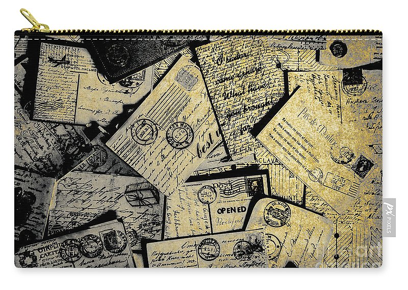 Postage Carry-all Pouch featuring the photograph Piled Paper Postcards by Jorgo Photography - Wall Art Gallery