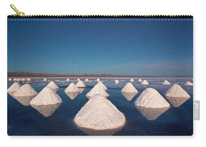 Mineral Carry-all Pouch featuring the photograph Piles Of Salt Dry In The Arid by Mint Images/ Art Wolfe