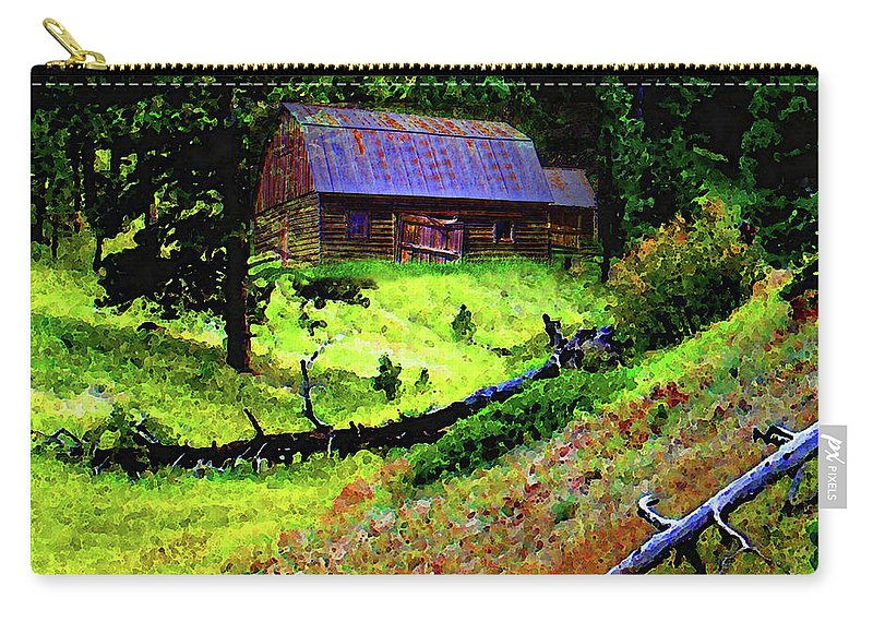 Carry-all Pouch featuring the digital art Pine Ridge Barn by Terril Heilman
