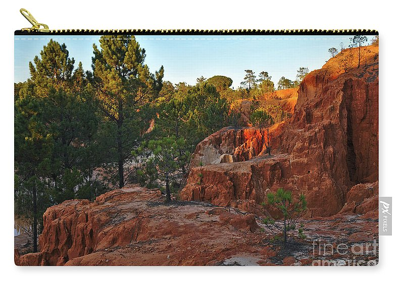 Trees Carry-all Pouch featuring the photograph Pine Trees On Red Cliffs by Angelo DeVal