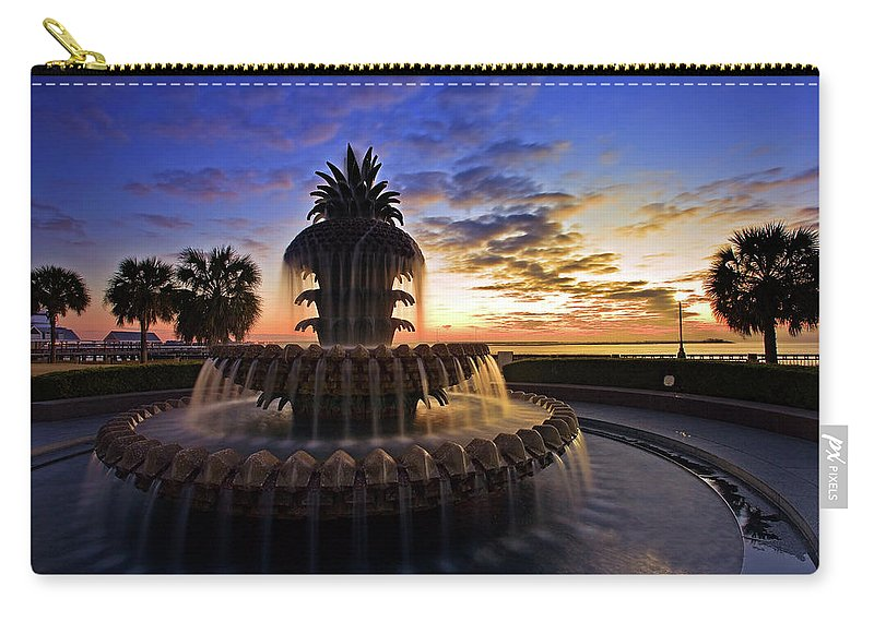 Tranquility Carry-all Pouch featuring the photograph Pineapple Fountain In Charleston by Sam Antonio Photography