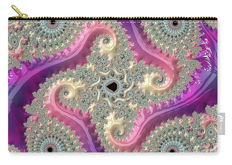 Fractals Carry-all Pouch featuring the digital art Pink Choreography by Elisabeth Lucas
