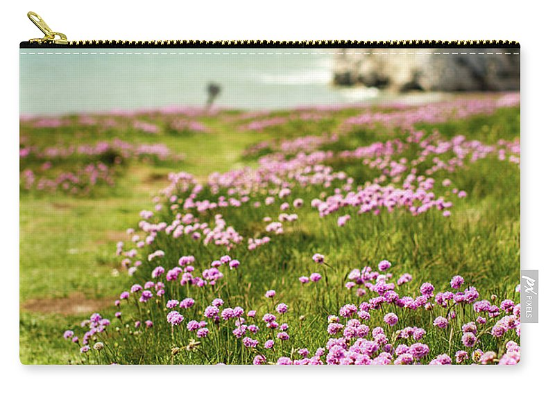 Scenics Carry-all Pouch featuring the photograph Pink Coastal Path by S0ulsurfing - Jason Swain