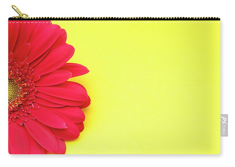 Petal Carry-all Pouch featuring the photograph Pink Gerbera Daisy On Yellow Background by Jill Fromer