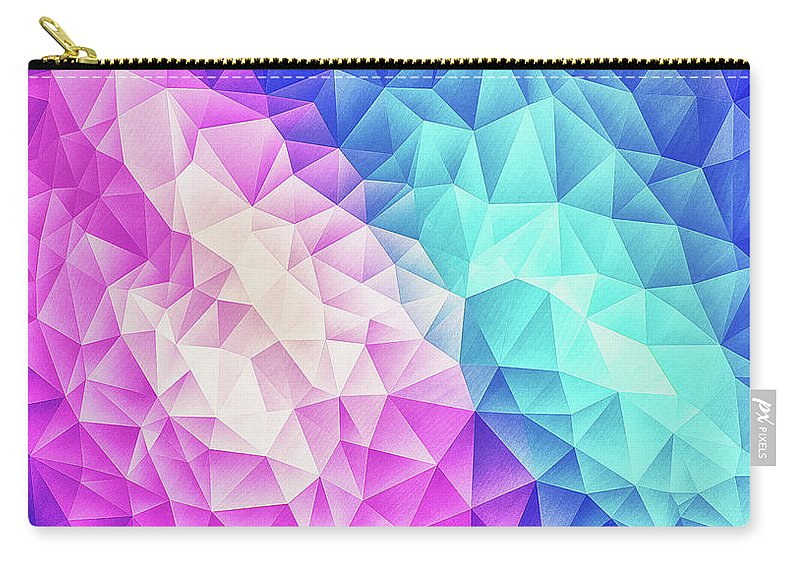 Colorful Carry-all Pouch featuring the digital art Pink Ice Blue Abstract Polygon Crystal Cubism Low Poly Triangle Design by Philipp Rietz