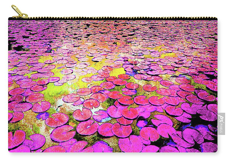 Lily Pad Carry-all Pouch featuring the mixed media Pink Lily's by Sean Dorazio