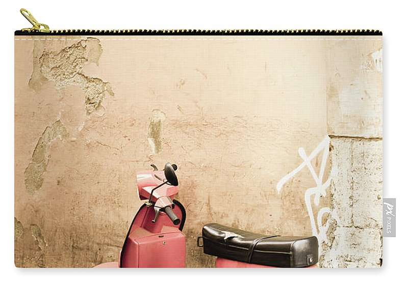 Desaturated Carry-all Pouch featuring the photograph Pink Scooter And Roman Wall, Rome Italy by Romaoslo