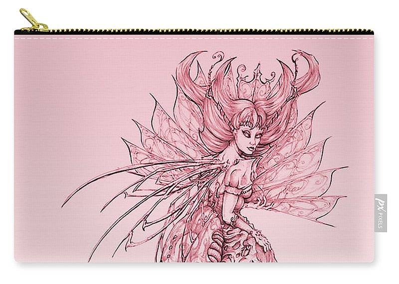 Breast Cancer Awareness Carry-all Pouch featuring the drawing Pink Sussurus by Tadja Dragoo