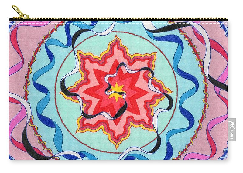 Sacred Geometry Art. Carry-all Pouch featuring the painting Pink, Yellow, Red Sun. by Joney Jackson