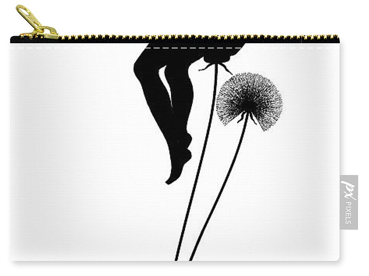 Flower Carry-all Pouch featuring the drawing Pixie On Top Of A Dandelion by Karl Wilhelm Diefenbach