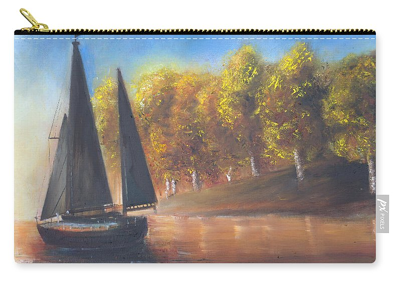 Sail Carry-all Pouch featuring the painting Plain Sailing, Boat Painting by Laurel Moore