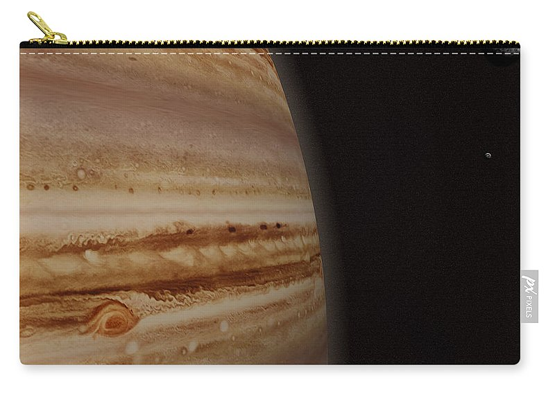 Black Color Carry-all Pouch featuring the photograph Planet Jupiter And A Distant Moon by Jason Reed