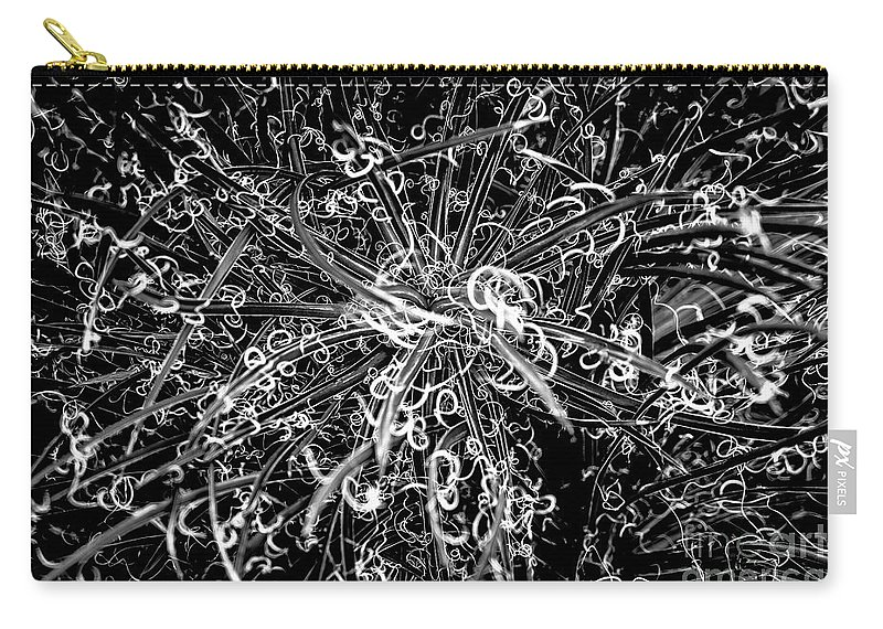 Planting Field Arboretum Carry-all Pouch featuring the photograph Plant Black And White Abstract by Edward Love