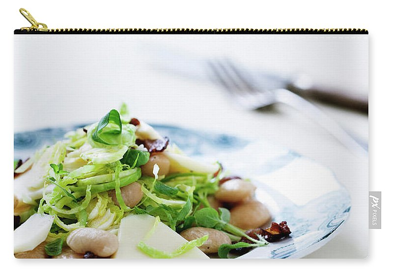 Cheese Carry-all Pouch featuring the photograph Plate Of Beans And Salad by Line Klein